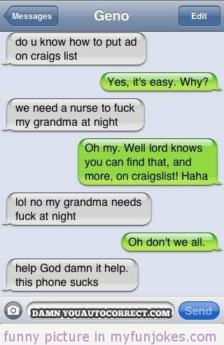 autocorrect fail craigs list 1 funny jokes one liners http