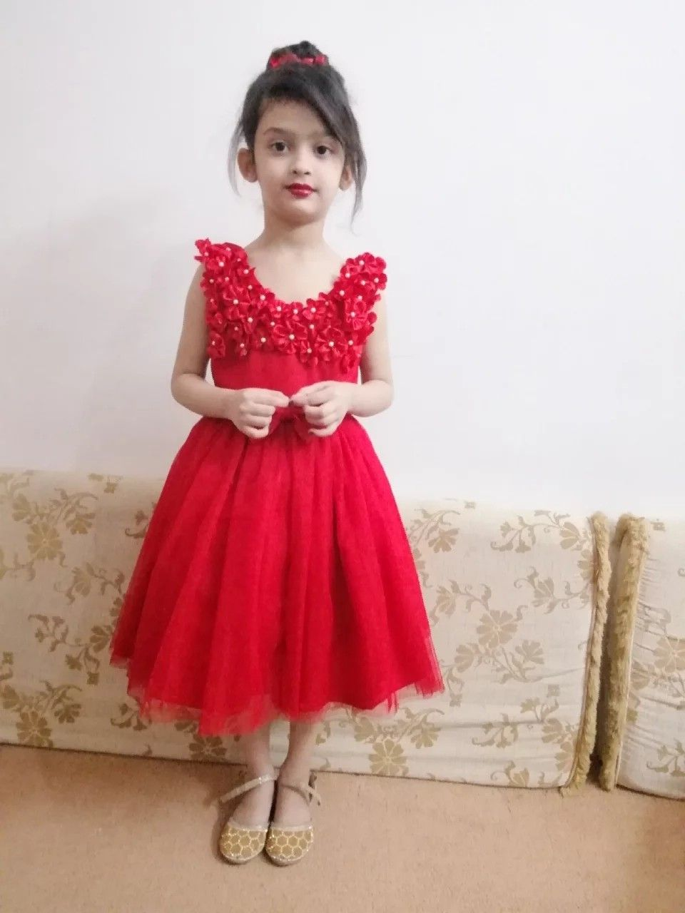 f085cc4c2f13 a very beautiful net frock for 5year girl in red colour. i used ...
