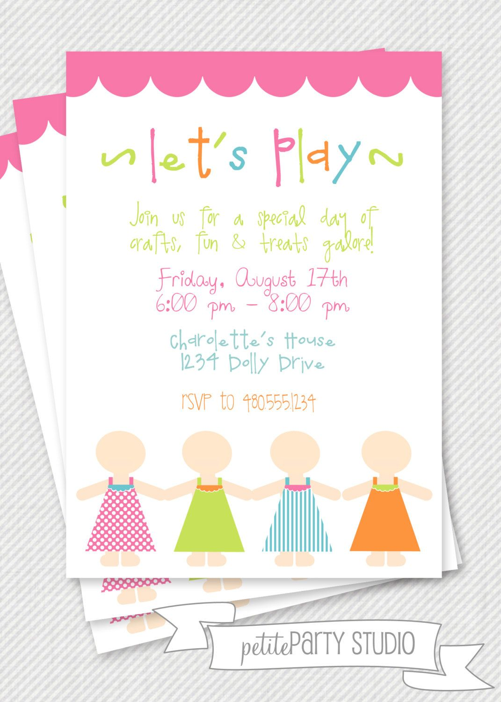 Invitations Doll Slumber Party Birthday American Girl