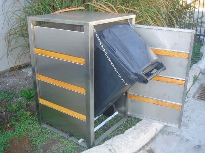 Mülltonnenbox Edelstahl mit Holzstreben für 1x 240L