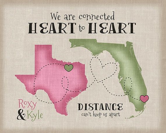 Long Distance Relationship Gift, Quote - Personalized Art, Gift for Boyfriend, Girlfriend, Husband, Wife, Friends, Army, Military Deployment