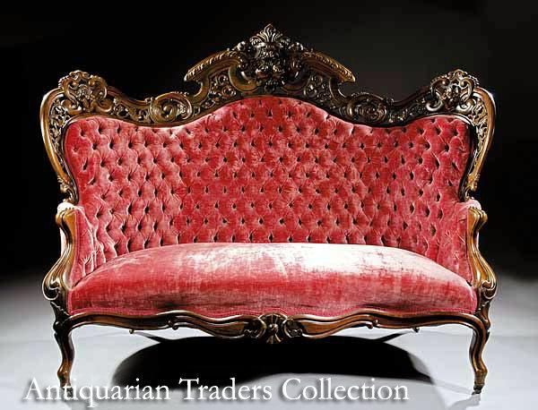 7116 American Rococo Carved & Laminated Rosewood Sofa