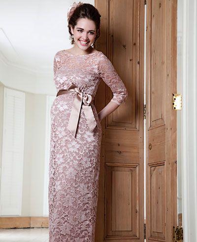 Amelia Lace Maternity Dress Long (Vintage Rose)