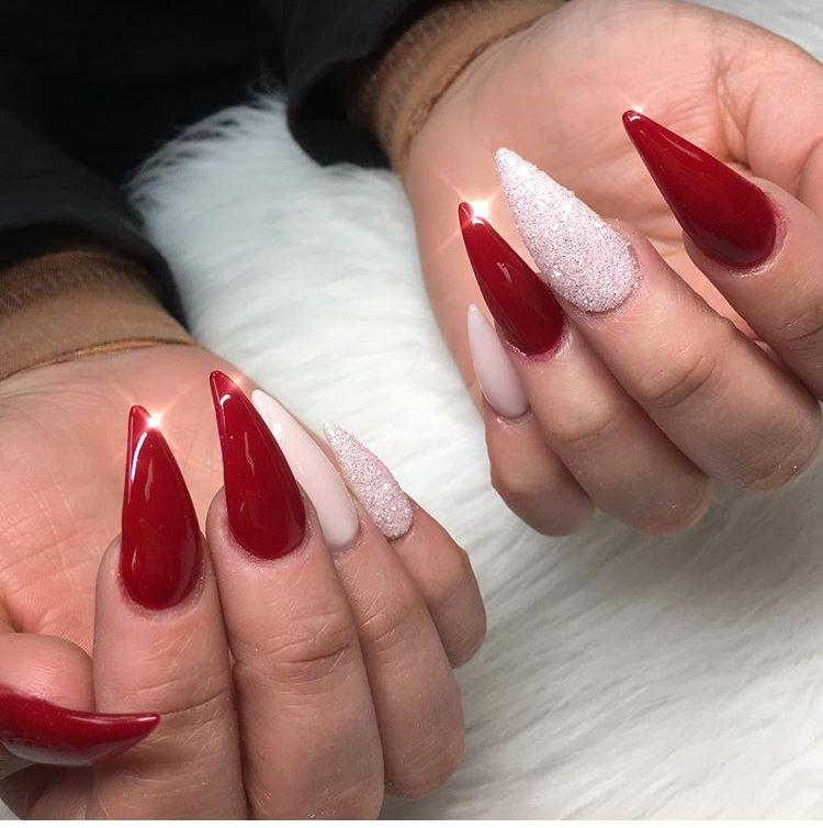 Red And White Stiletto White Stiletto Nails