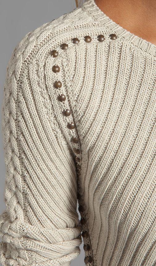 Compra Autumn Cashmere Studded Rib Cable Crew Sweater en Hemp en ...