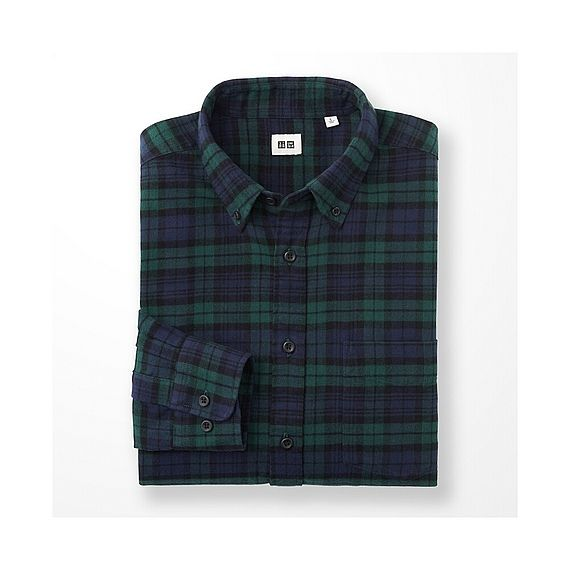 Men flannel checked long sleeve shirt o autumn winter for Black watch flannel shirt
