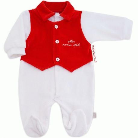 766a7645de4f1 Pyjama bébé garçon velours blanc effet gilet rouge brodé Mon premier Noël  fabriqué au Portugal à 13