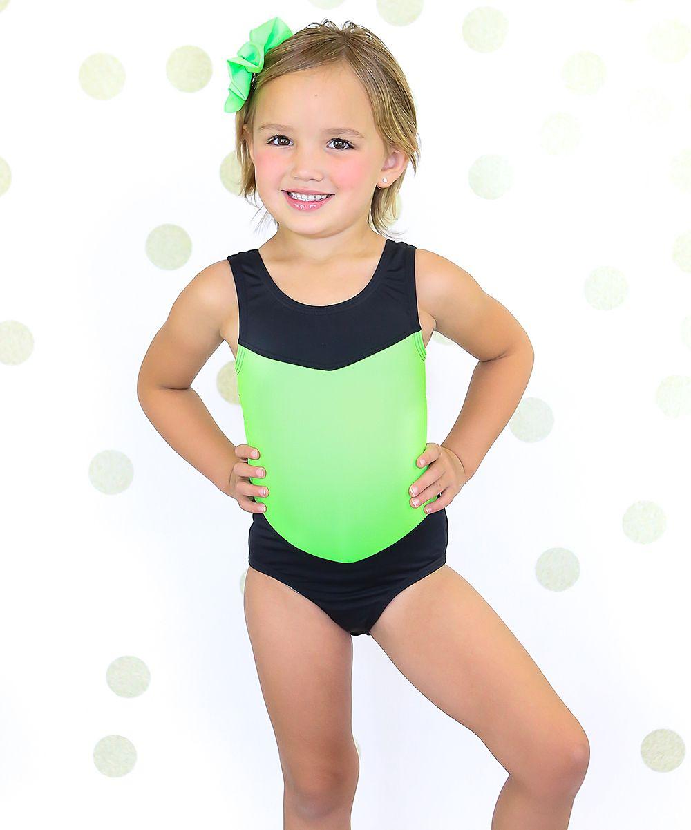 97c933495a Neon Lime Green   Black Cutout Leotard - Girls