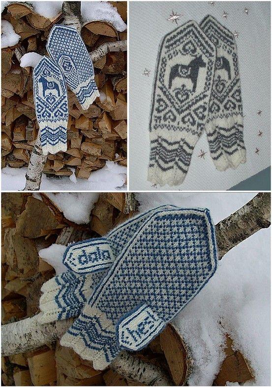 Dala horse mittens free knitting pattern --- The word 'hest ...