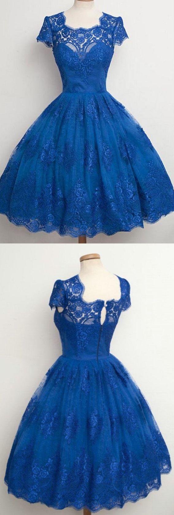 Square prom dresses blue short prom dresses vintage scallopededge