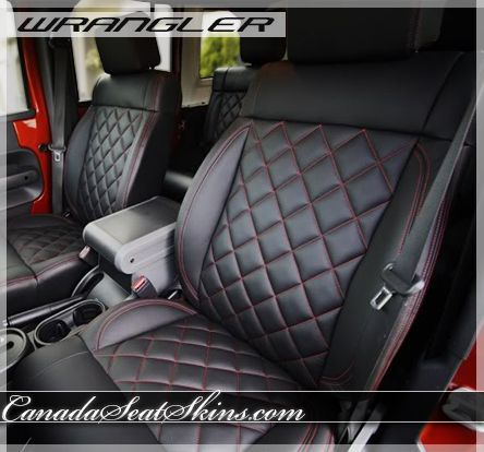 2011 2012 Jeep Wrangler Black With Red Stitch Quilted
