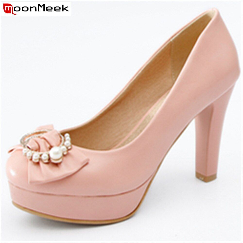 MoonMeek spring summer extreme high heels round toe platform shoes with butterfly knot pink black wh