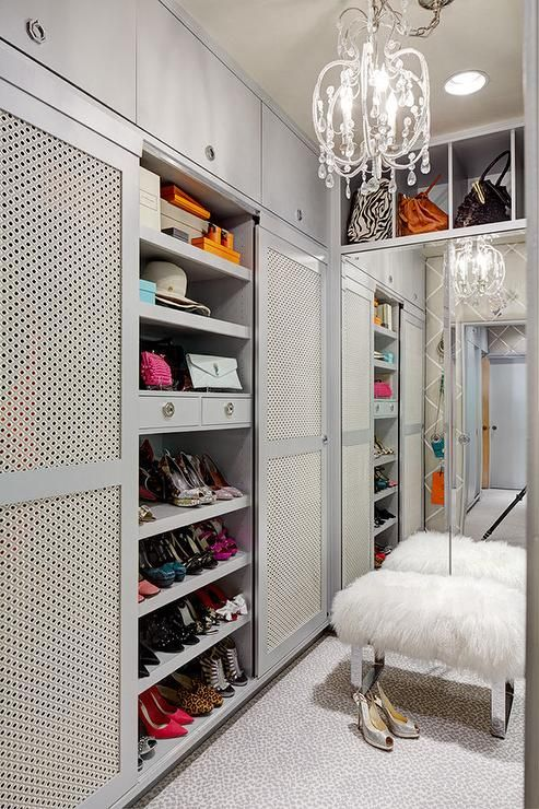 Gray Walk In Closet Features Shelves Designated For
