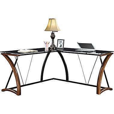 Wood Glass Computer Desk Whalen Newport Wood and Glass Desk