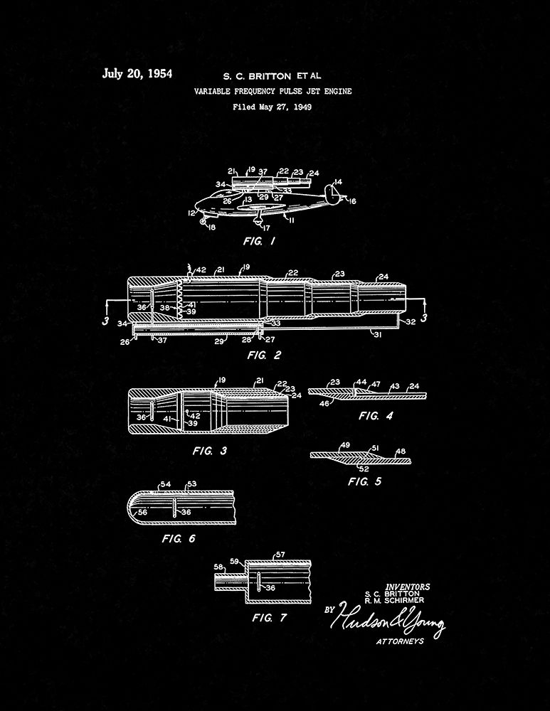 Variable Frequency Pulse Jet Engine Patent Print - Black Matte (5x7