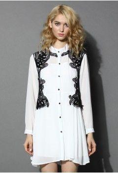 Urban Mist Crochet Trimmed Shirt Dress in White - Dress - Retro, Indie and Unique Fashion