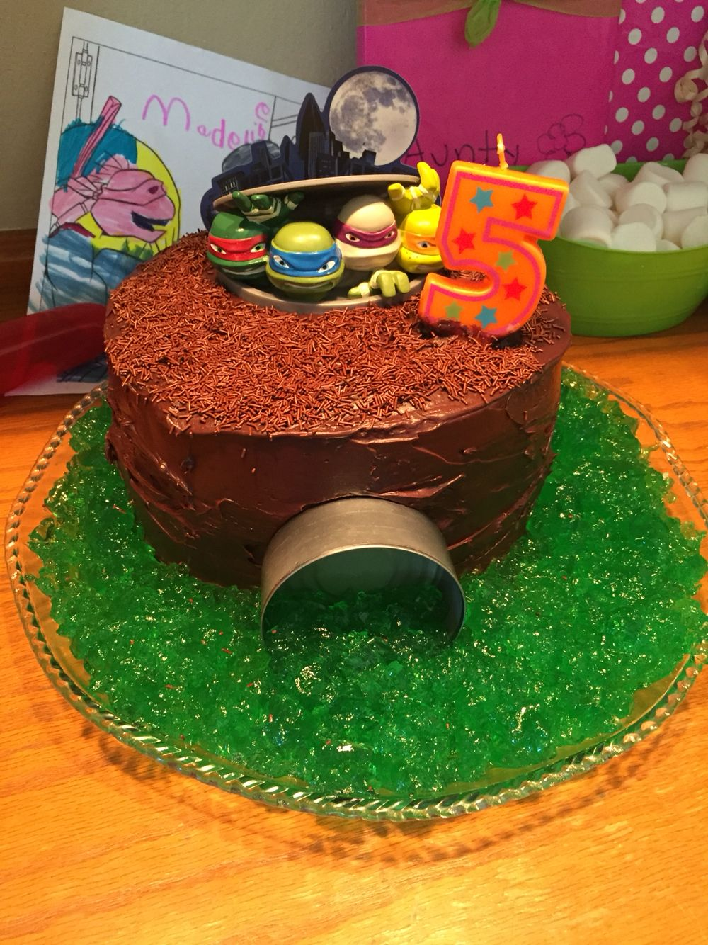 Ninja Turtle Birthday Cake Cake topper from Amazon 9 diameter 3