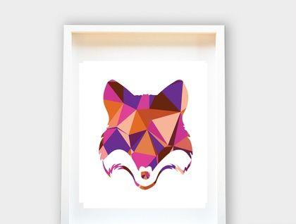 Tête géométrique Fox, Woodland Animaux, Art Nursery, chambre d'enfants, baby shower 8x10 cadeau