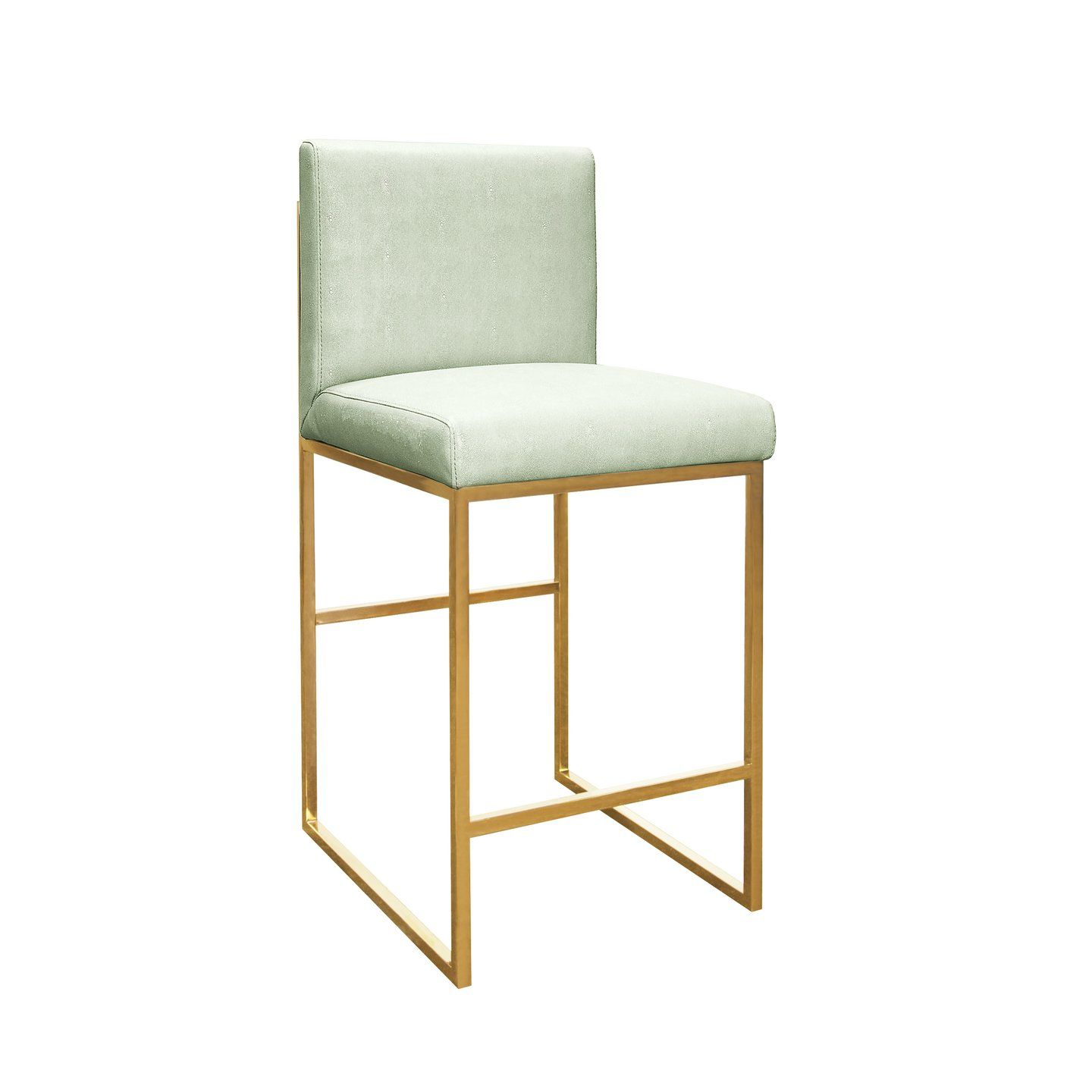 The Worlds Away Kingston Green Counter Stool In Brass Showcases A