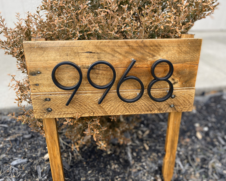 Address stake reclaimed wood address post for garden