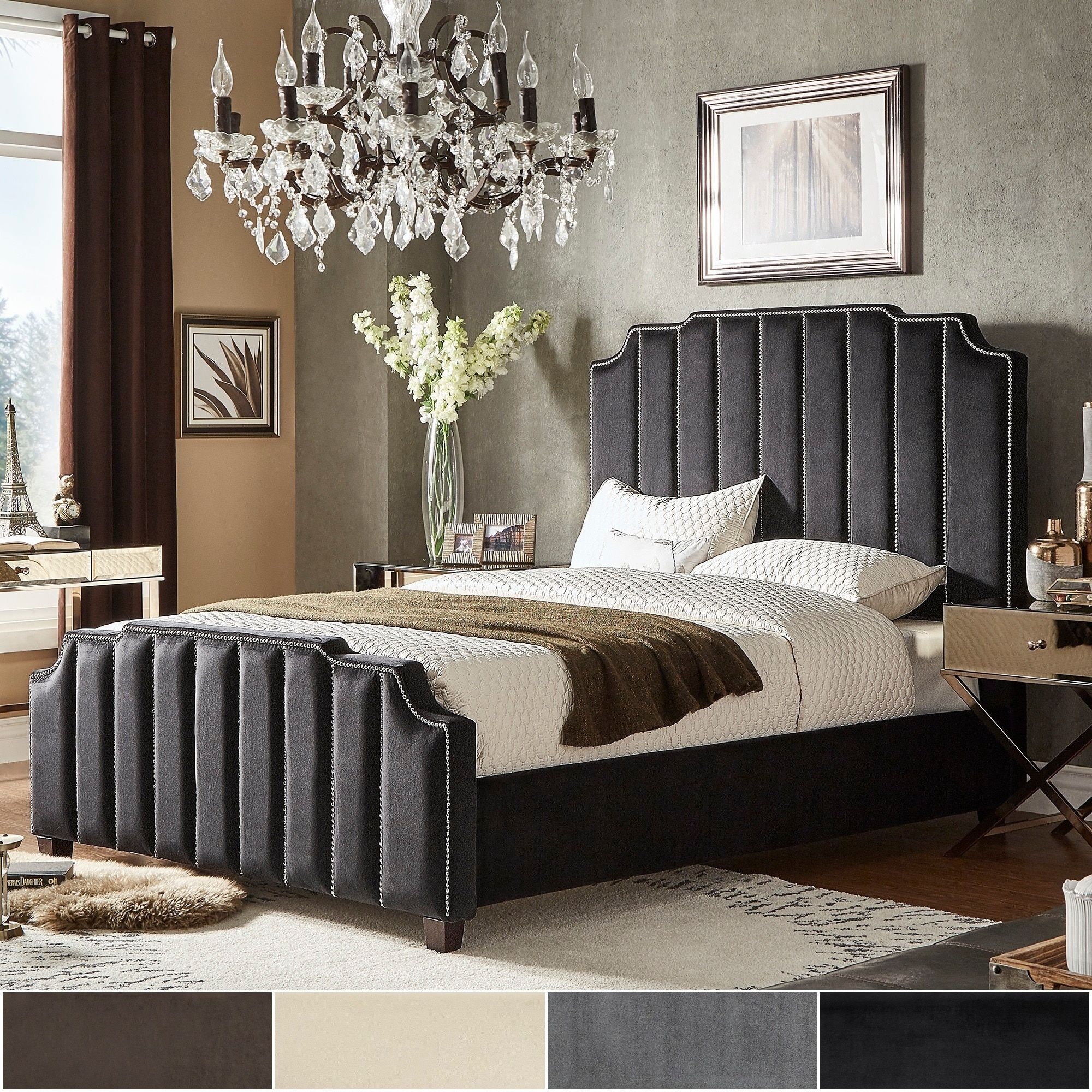 Chareau Queen Size Velvet Upholstered Nailhead Bed And