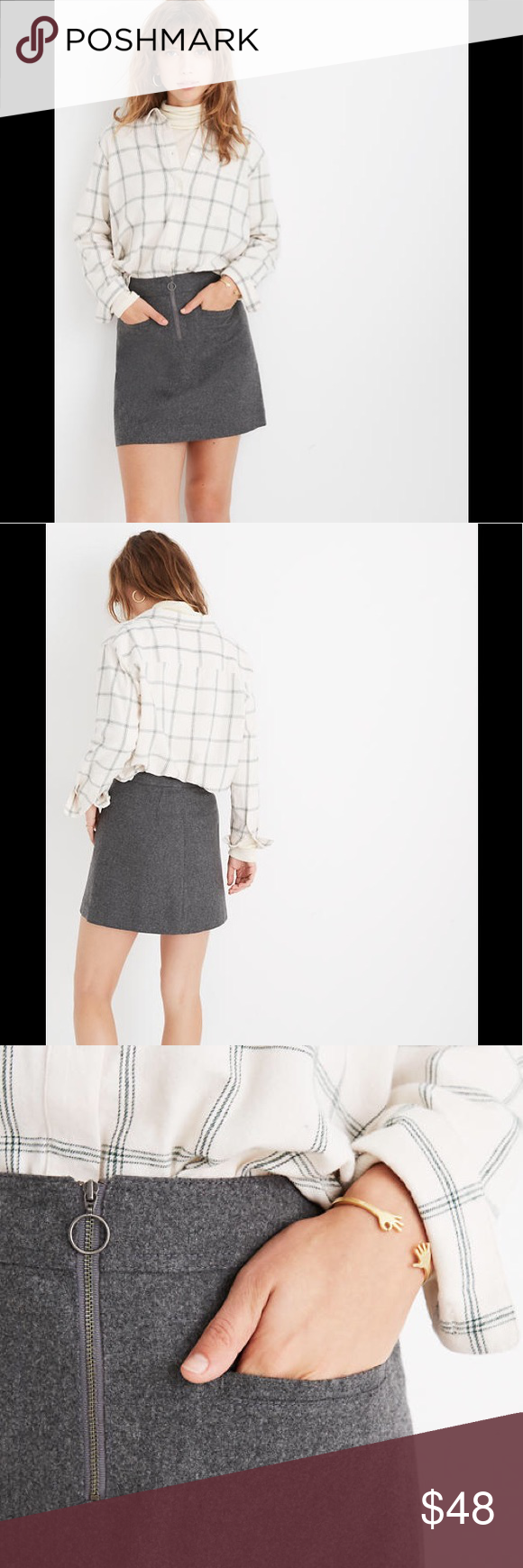 Photo of Madewell Fireside Mini Skirt in Gray Plus Size Madewell Fireside Mini Skirt in P…