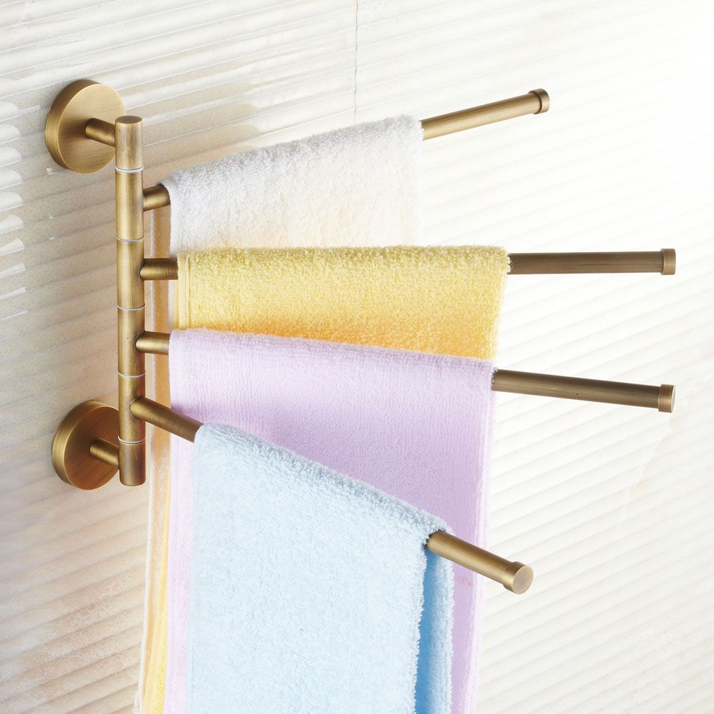 Solid brass european antique movable towel rack bathroom rotary rods