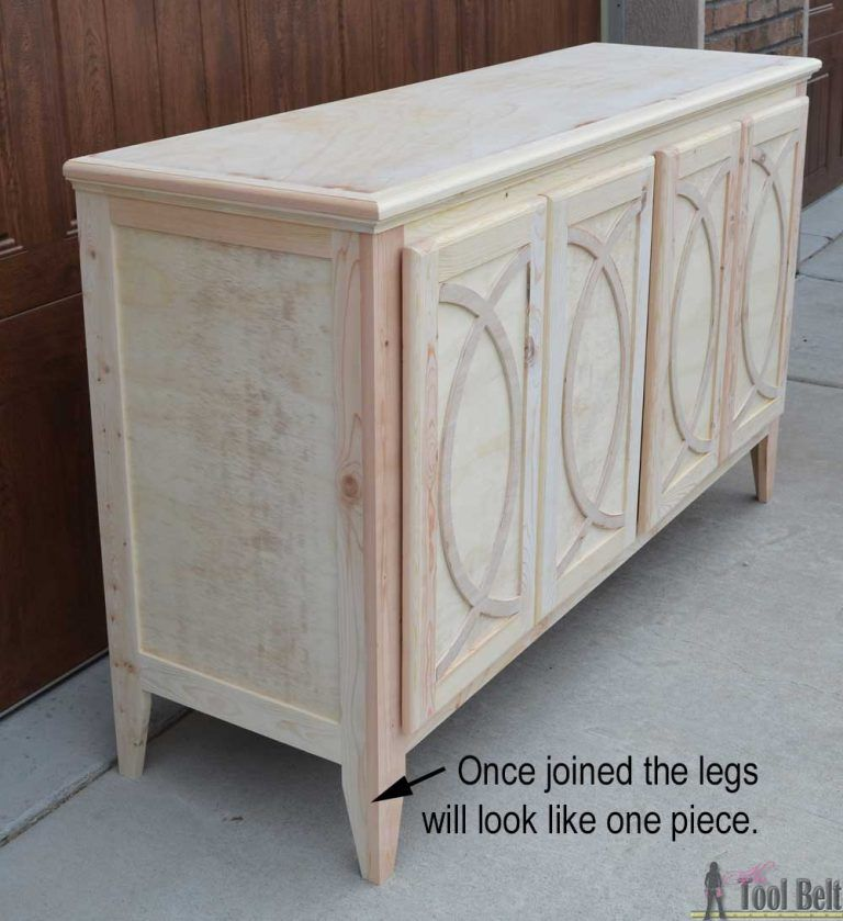 DIY BuffetSideboard with Circle Trim Doors - Sideboard furniture plans, Diy sideboard, Diy furniture plans, Buffet woodworking plans, Diy baby furniture, Diy sideboard buffet - Free plans to build a DIY Buffet or sideboard to add lots of storage to your dining area and serving space for the holiday season parties