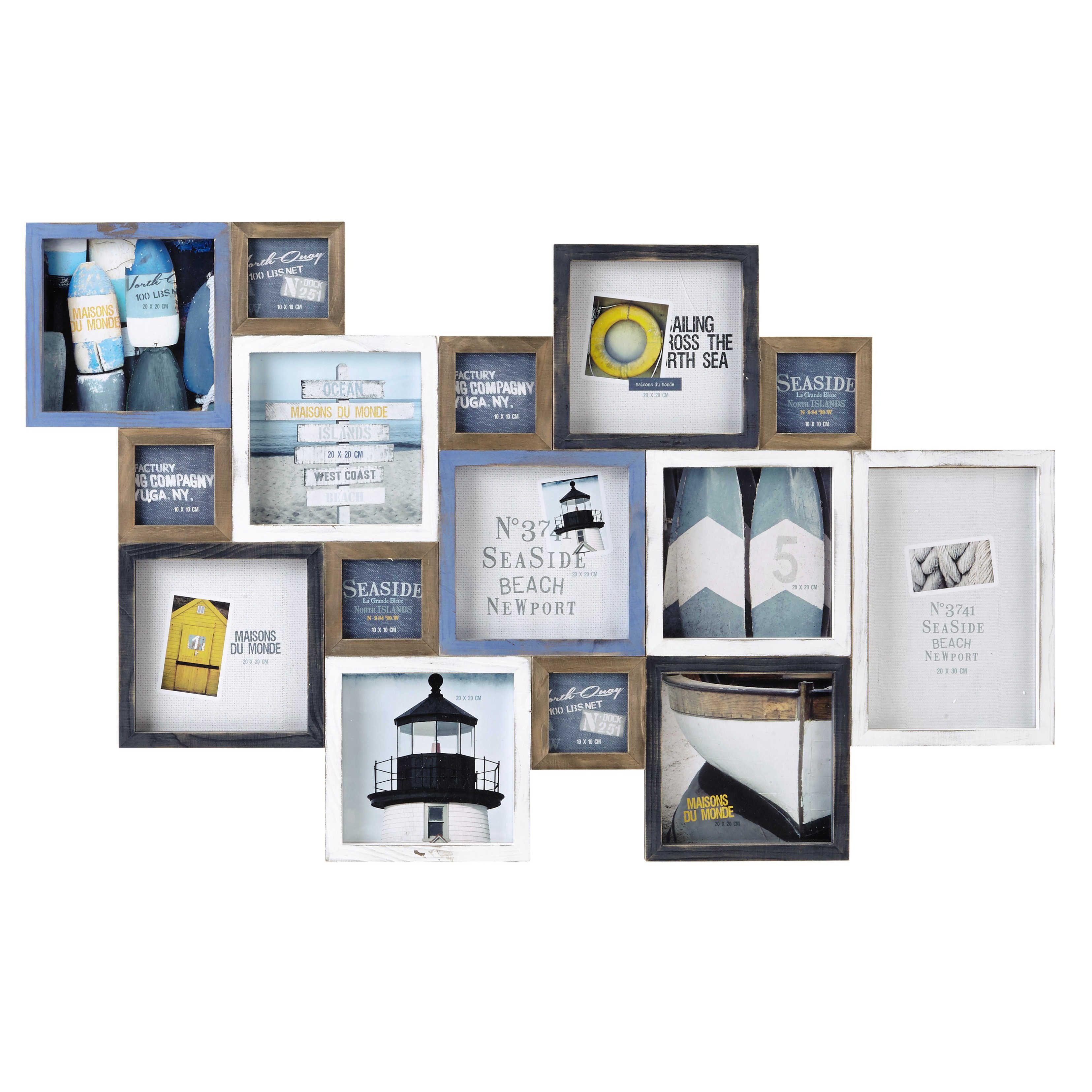 Marco de fotos de madera azul y blanco 70 × 113 cm PORTLAND | Hogar ...