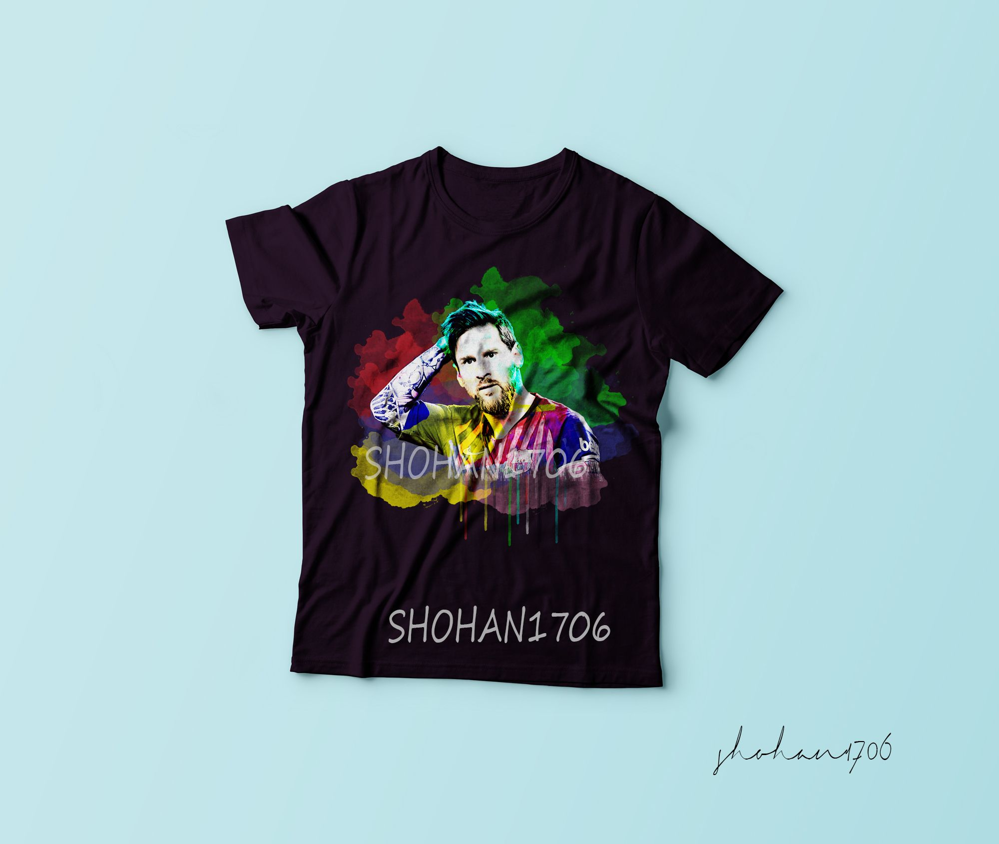 Tshirt Watercolor Messi Football Design Graphicsohan Com