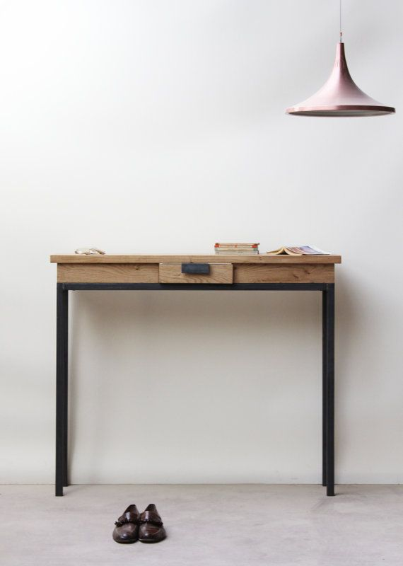 Box Section Industrial Side Table With Drawer A Super Slim Sideboard With A Handy Little Drawer For All Tho Industrial Side Table Side Table With Drawer Oak