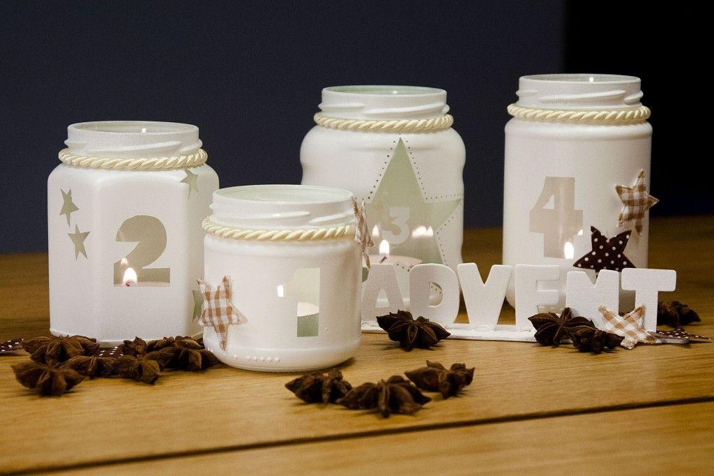 adventskranz selbstgemacht deine diy adventsdeko aus marmeladengl sern diy pinterest. Black Bedroom Furniture Sets. Home Design Ideas