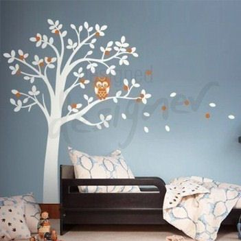 Hooting Owl On Woodland Tree Wall Sticker Mural   Wall Sticker Outlet