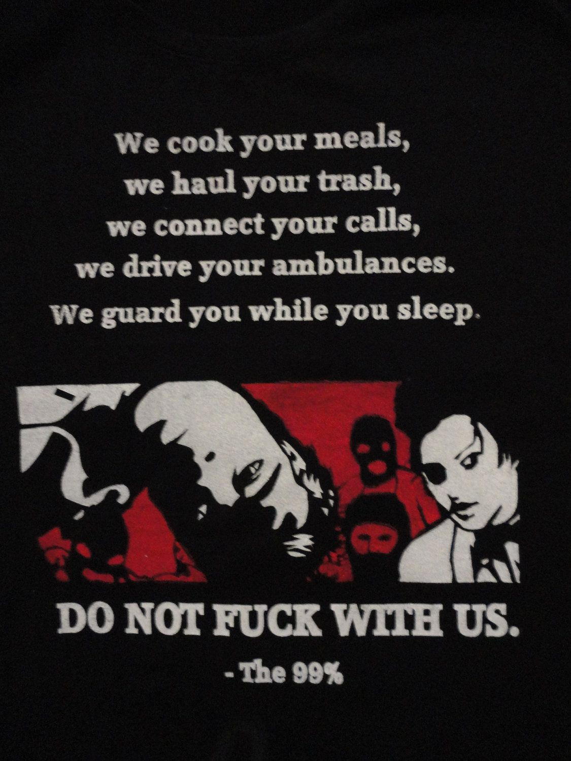 Do not F'''K with us 99% Occupy Women's Tee Fight Club political Class War, feminist, Anarchist.