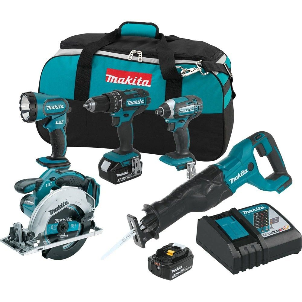 Makita Xt505 18v Lxt 5 Tool Combo Kit Power Tool Kits Cordless Tools Makita Power Tools