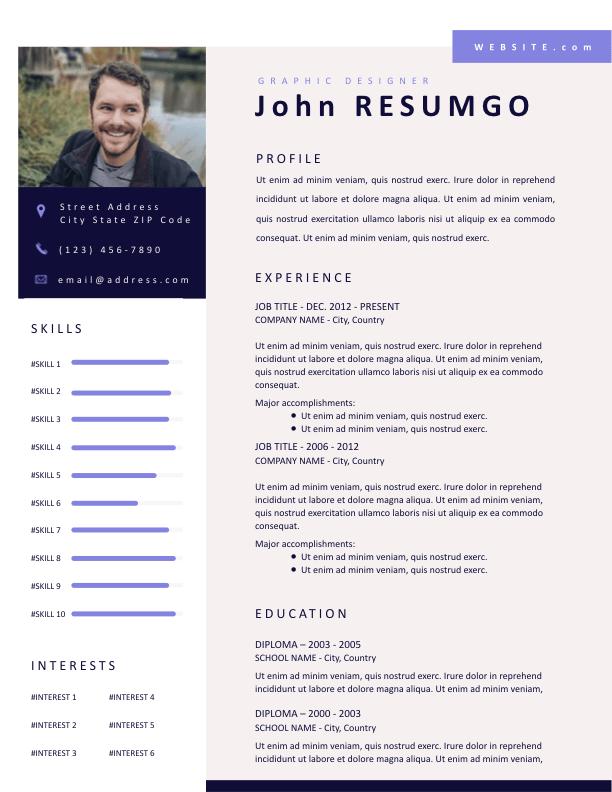 Danae Professional Cv Template Resumgo Com Cv Template Professional Cv Template Modern Resume Template