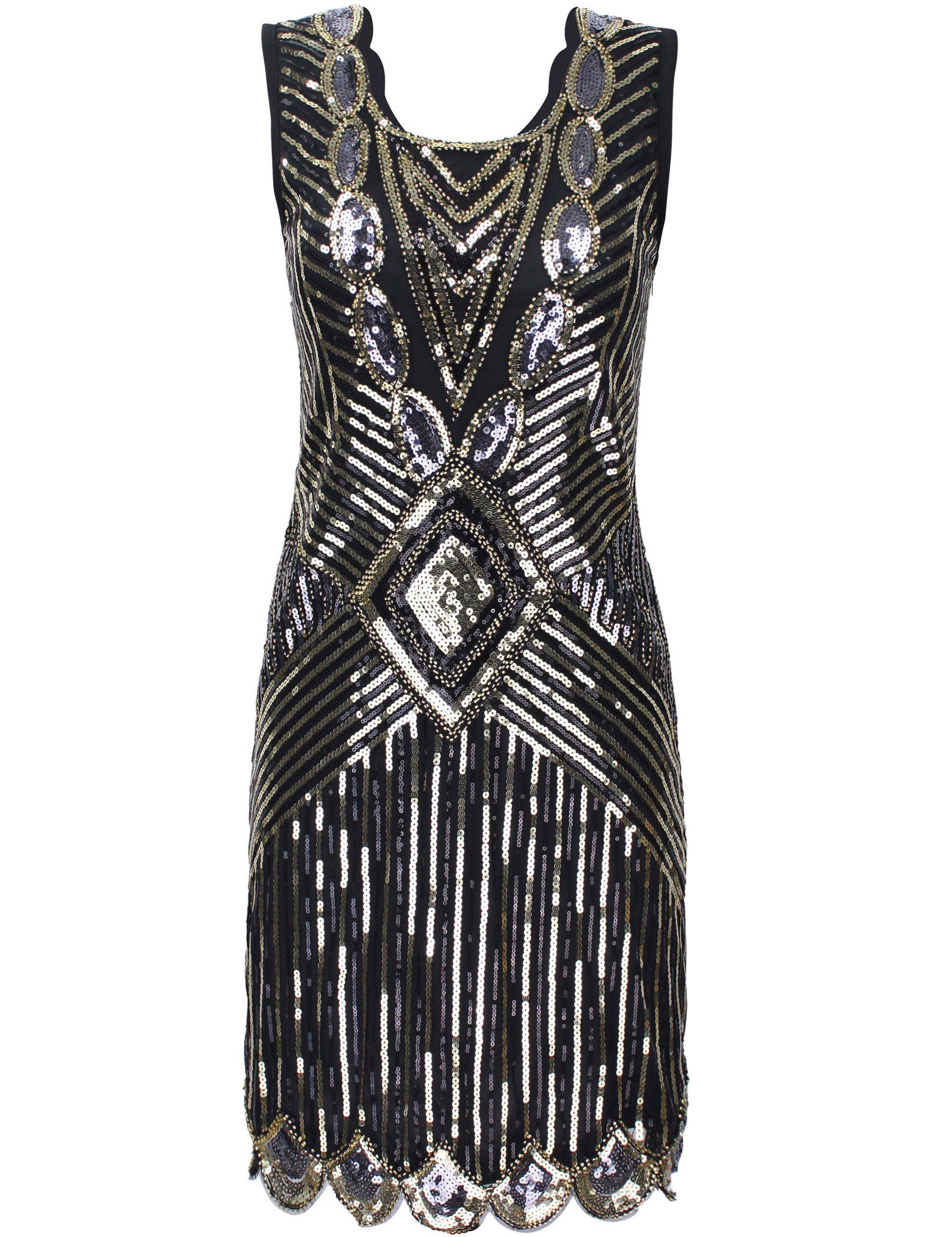 PrettyGuide Damen 1920er Gatsby Sequin Art Deco Scalloped Saum ...