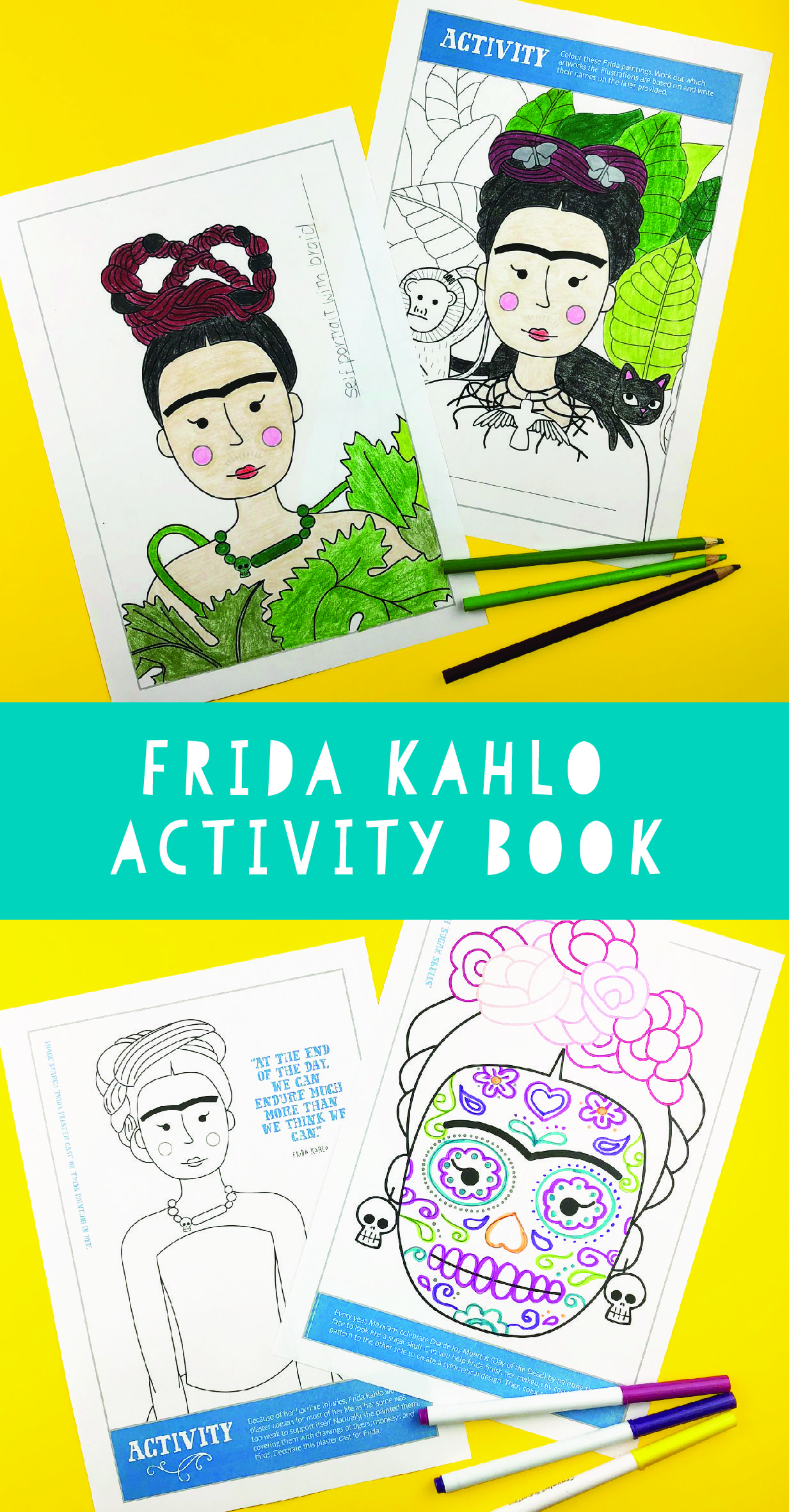 Frida Kahlo Activity Book With Biography Coloring
