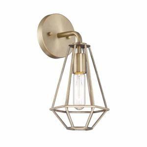 Cordelia Lighting 1 Light Old Satin Brass Wall Sconce 15017 311   The Home  Depot