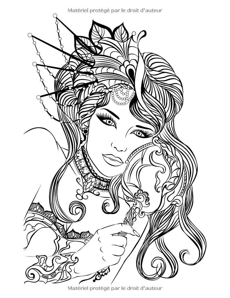 two women coloring page for adults fr livre de coloriage pour adultes portraits 2 7923