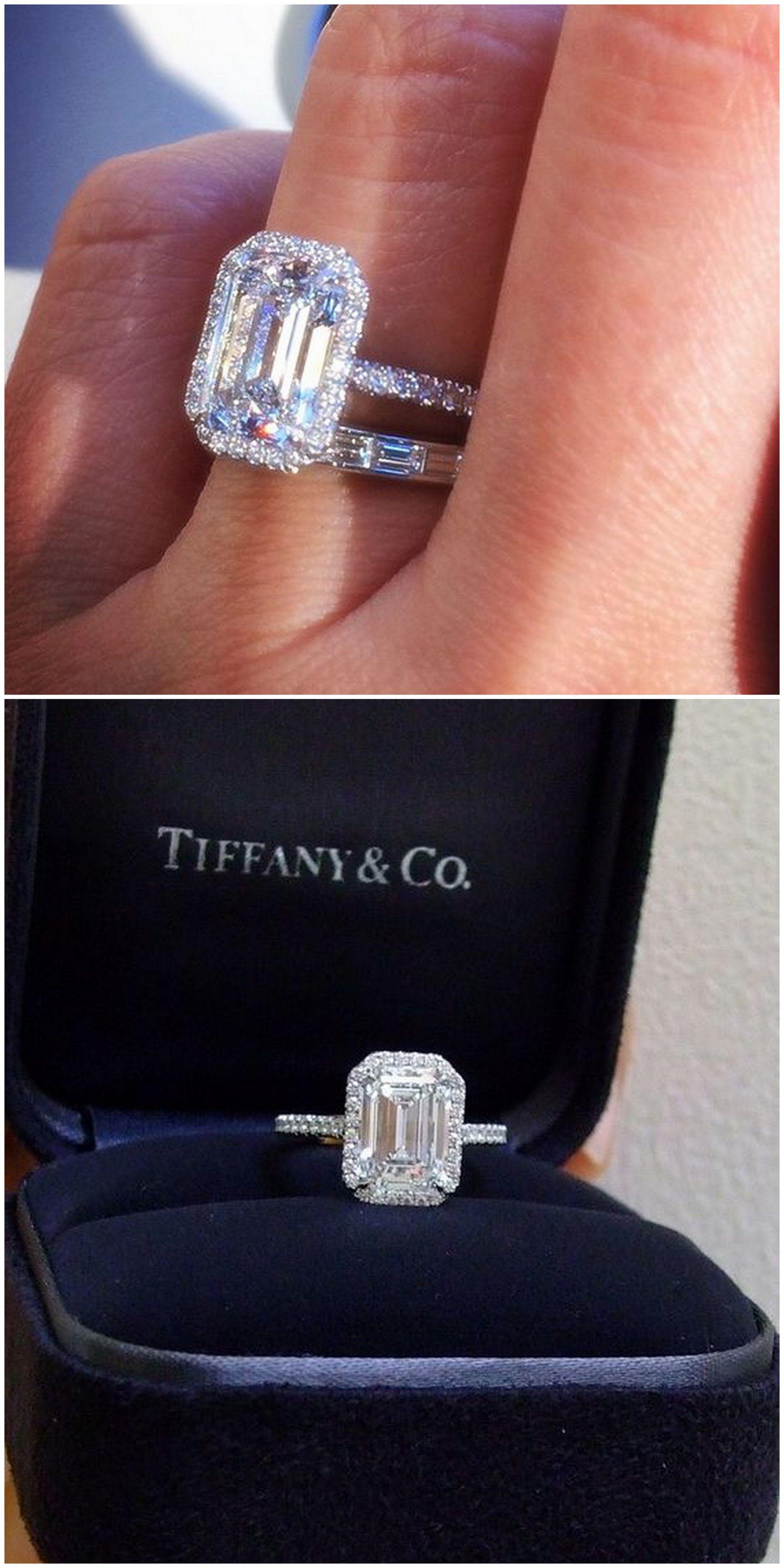 Tiffany Co   Ct Soleste Emerald Cut Platinum Diamond Engagement Ring
