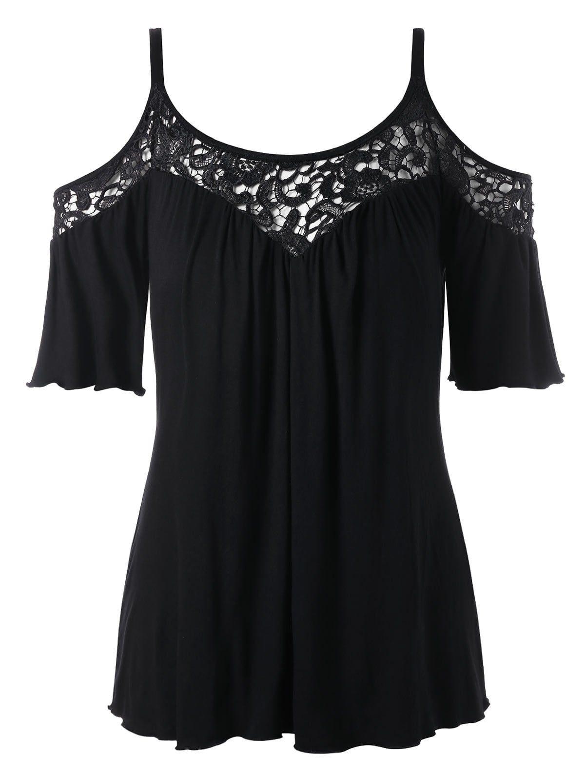 f5127a0c4729ae Cold Shoulder Plus Size Lace Panel Blouse - BLACK XL