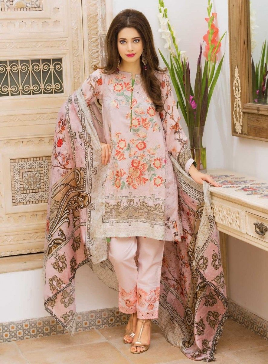 02ce889b5d Warda Pink floral embroidered three piece dress for Eid | Warda ...
