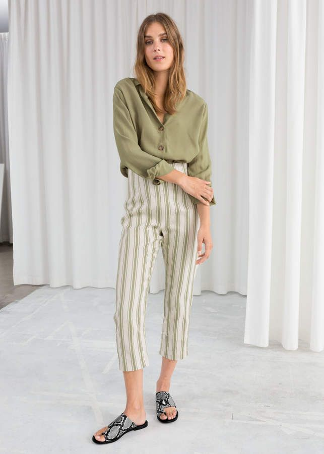discount exquisite design fashion style Linen Blend Cropped Pants | Products | Cropped trousers ...