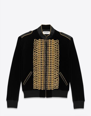 10f48f1ebbb SAINT LAURENT Officer Teddy Jacket In Black Cotton Velour. #saintlaurent  #cloth #