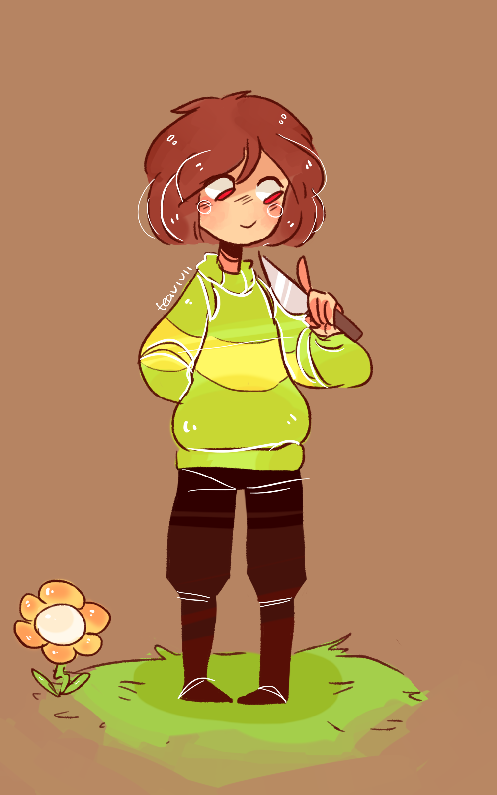 """Hi, I'm Chara. The nice one not the demon one. I can have a bit of a cruel streak but most of the time I'm nice, make puns and narrate what's going on like I did during Frisk's pacifist run. I like dogs and reading, I don't like humanity. I am looking foreward to meeting all of you"""