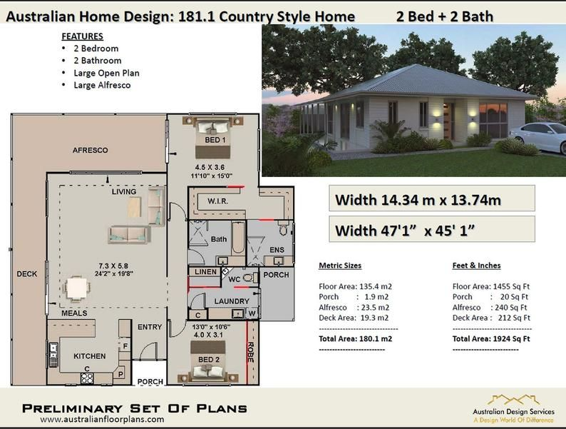 2 Bedroom House Plans Australia 180m2 1924 Sq Ft Etsy House Plans Australia Country Style House Plans 2 Bedroom House Plans