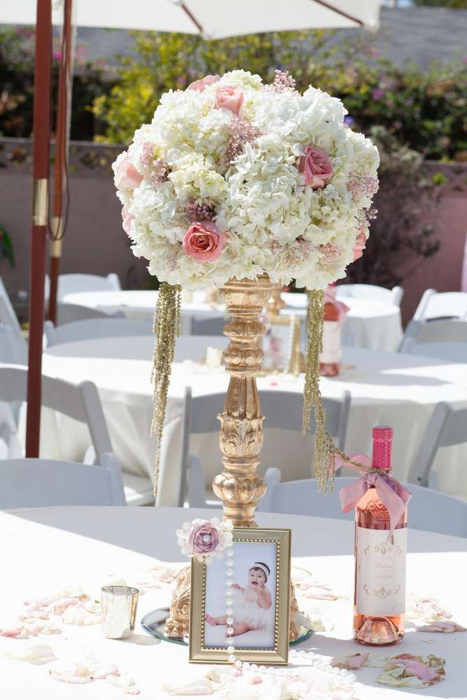 Fine Centerpieces At A Pink And Gold Baptism Party See More Home Interior And Landscaping Oversignezvosmurscom