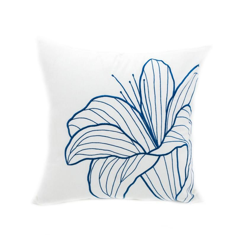 Blue Flower Decorative Pillow Covermodern Floral Handmade Etsy Decorative Pillows Embroidered Throw Pillows Diy Pillow Covers