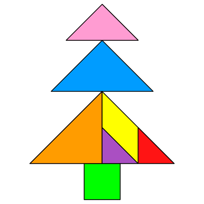 the solution for the tangram puzzle fir
